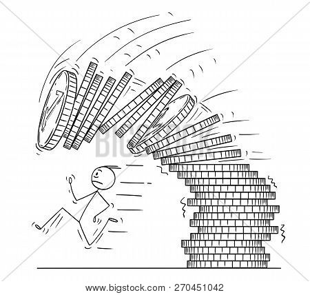Cartoon Stick Man Drawing Conceptual Illustration Of Man Or Businessman Running Away From Falling St