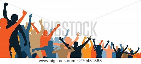 Cheerful People Crowd Applauding, Silhouette. Party, Applause. Different Events. Fans Dance Concert,