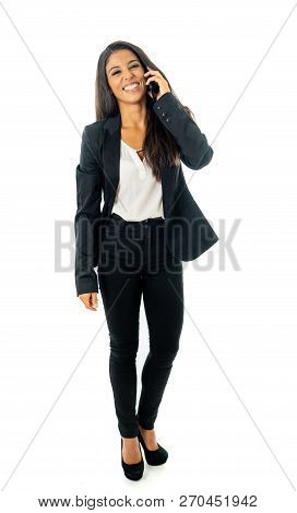 Full Body Portrait Of Happy Excited Beautiful Businesswoman