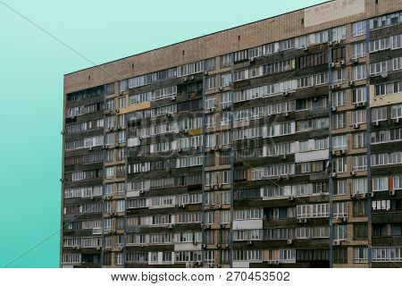 Residential Building In A Postsocialist Country. Slums, Social Housing At High Prices. Residential M