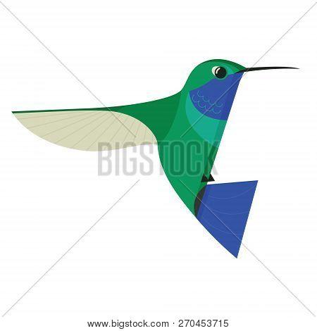 Humming Bird Icon Geometric Cartoon Flat Vector Illustration Isolated Object Set
