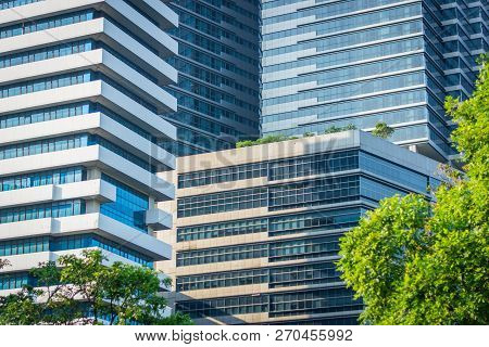 Modern Buildings In Sunny Day In Bangkok, Thailand