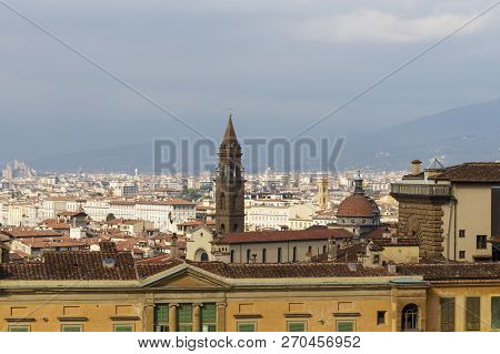 The Roof Of The Palazzo Pitti Overlooking The Tower Of The Church Of Chesea Di San Spirito.