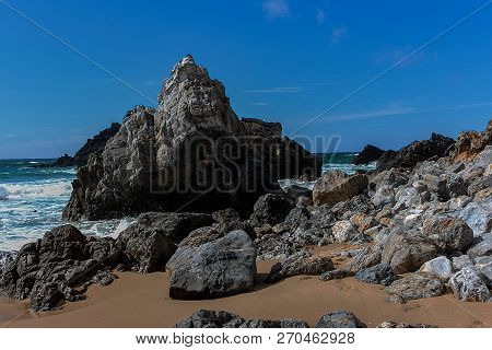 Adraga Beach Is A Beach Located In The Municipality Of Sintra, Near Colares And Almoçageme, In Portu