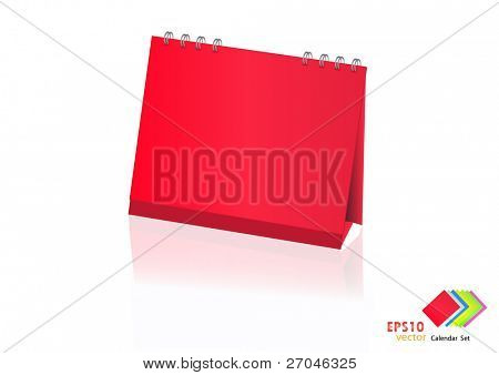 A set of colorful calendar with blank space. Vector illustration. (red)
