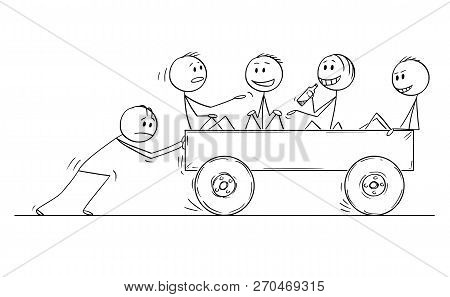 Cartoon Stick Drawing Conceptual Illustration Of Four Men Or Businessmen Enjoying Riding On Cart Pus