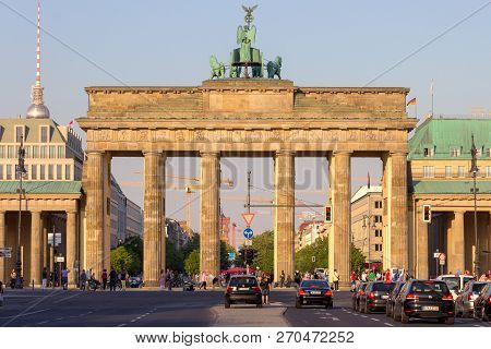 Berlin, Germany - May 22, 2014: Famous German Landmark And National Symbol Brandenburger Tor (brande