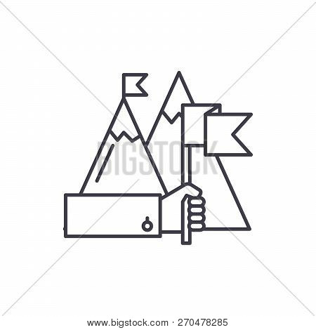 Ambitious Goals Line Icon Concept. Ambitious Goals Vector Linear Illustration, Symbol, Sign