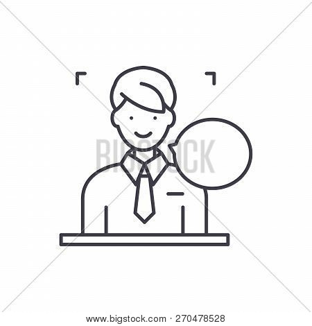 Answers On Questions Line Icon Concept. Answers On Questions Vector Linear Illustration, Symbol, Sig