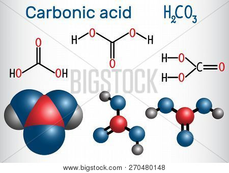 Carbonic Acid (h2co3) Molecule .  It Is Also Solution Of Carbon Dioxide In Water (carbonated Water).