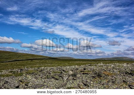 Scenic View Of The Mountain Tundra. Northern Ural Russia. Activities And Tourism. Beautiful Panorami