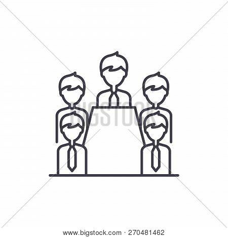 Board Of Directors Line Icon Concept. Board Of Directors Vector Linear Illustration, Symbol, Sign