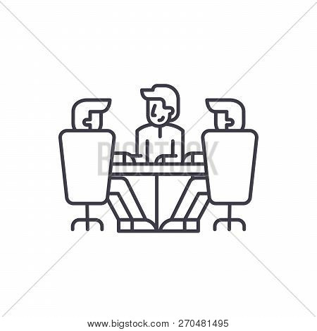 Board Of Directors Meeting Line Icon Concept. Board Of Directors Meeting Vector Linear Illustration,