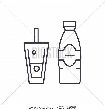 Bottle And Glass Of Mineral Water Line Icon Concept. Bottle And Glass Of Mineral Water Vector Linear