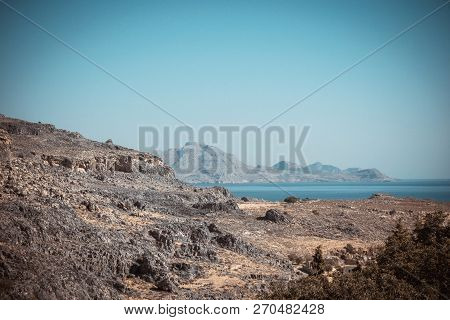 Rocks And Hills On Rhodes Island Near Lindos Town