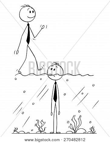 Cartoon Stick Man Drawing Conceptual Illustration Of Businessman Standing In Water With Surface Abov