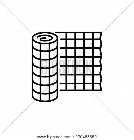 Black & White Vector Illustration Of Plant Fencing Protecting Trees & Shrubs From Animals. Line Icon