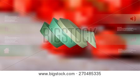 3d Illustration Infographic Template. The Round Pentagon Is Divided To Four Color Parts. Object Is A
