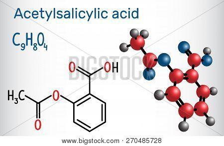 Acetylsalicylic acid (aspirin, ASA) molecule. Structural chemical formula and molecule model. Vector illustration poster