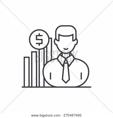 Career Growth Manager Line Icon Concept. Career Growth Manager Vector Linear Illustration, Symbol, S
