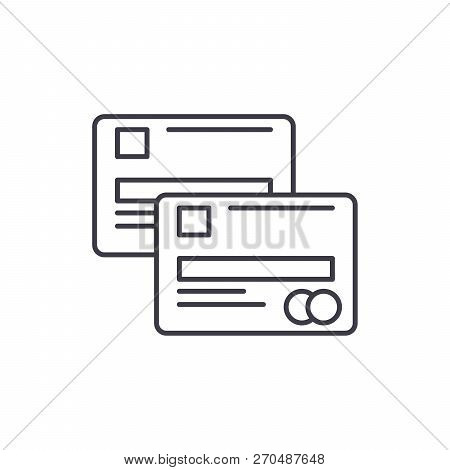 Cash Cards Line Icon Concept. Cash Cards Vector Linear Illustration, Symbol, Sign