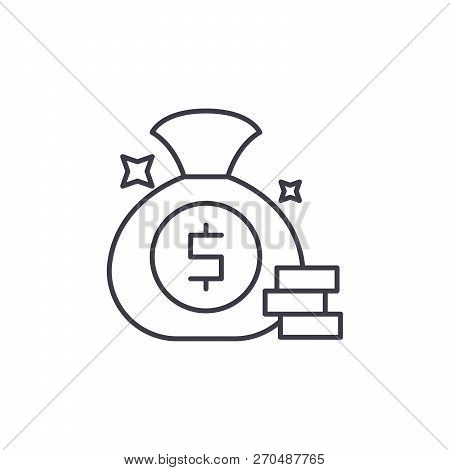 Cash Win Line Icon Concept. Cash Win Vector Linear Illustration, Symbol, Sign