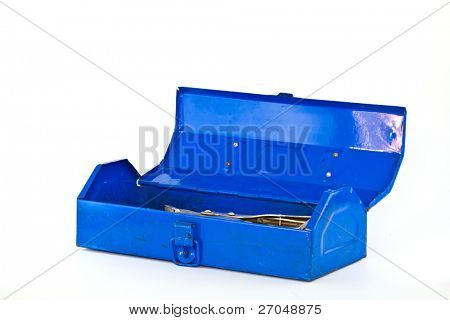 Blue toolbox with tools over white background.