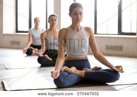 Group Of Young Women Practicing Yoga, Ardha Padmasana Pose