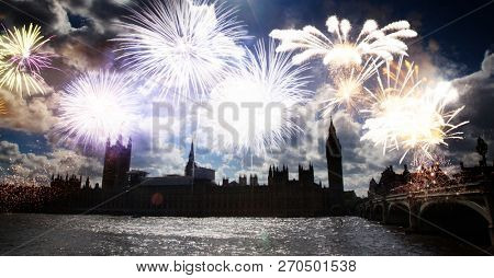 fireworks over Big Ben - new year celebrations in London, UK