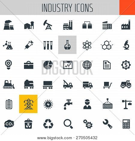 Big Industry Icon Set, Trendy Flat Icons