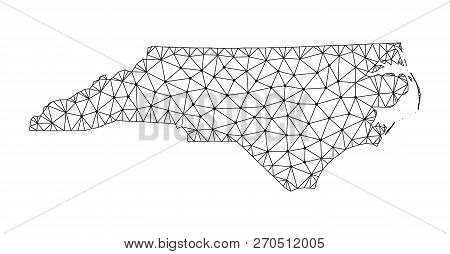 Polygonal Mesh Map Of North Carolina State. Abstract Mesh Lines, Triangles And Points With Map Of No