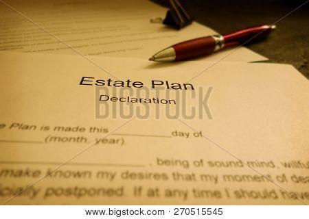 Closeup Of An Estate Plan Document With Pen