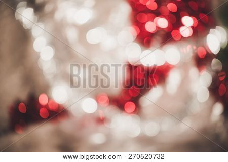 Bright Round Vivid Christmas And New Year Decoration Ornament Bokeh Red And Silver