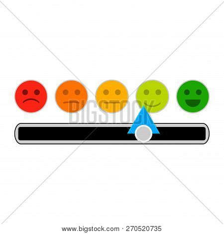 Credit Mood Indicator With Smile Face. Vector Minimum And Maximum Loan, Indebtedness Information Ill