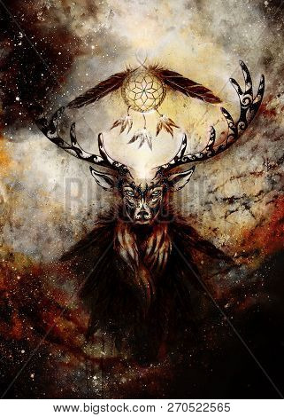 Sacred Ornamental Deer Spirit With Dream Catcher Symbol And Feathers In Cosmic Space.