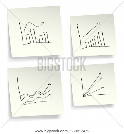 Sticky papers with business graphs