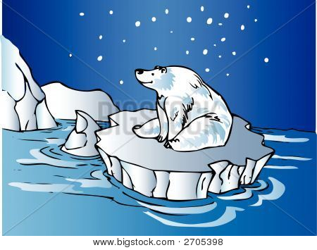 Polar Bear Sitting On An Iceberg