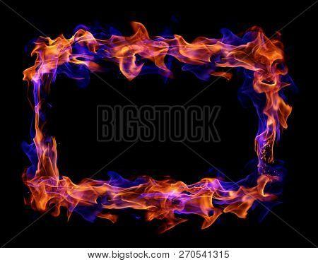 Fire frame on black background