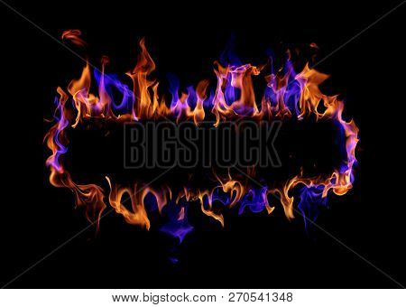 Fire frame on black background, Blue and red fire flame.