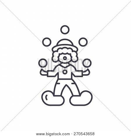 Clown Juggler Line Icon Concept. Clown Juggler Vector Linear Illustration, Symbol, Sign