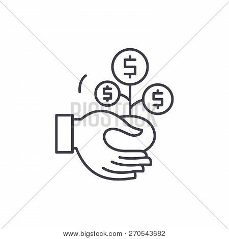 Co Financing Line Icon Concept. Co Financing Vector Linear Illustration, Symbol, Sign