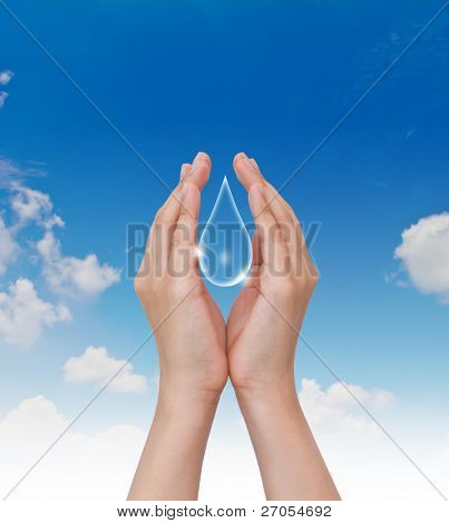 Eco concept : Hand hold water drop with against the blue sky
