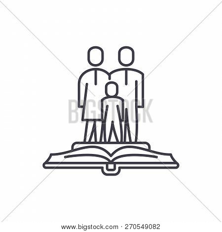 Family Law Line Icon Concept. Family Law Vector Linear Illustration, Symbol, Sign