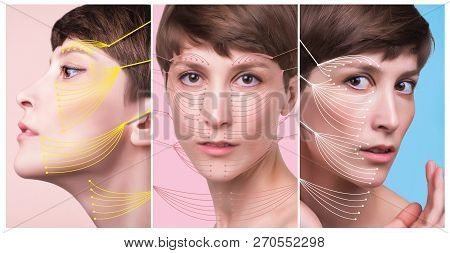 The young female face. Antiaging and thread lifting concept. Collage. Portrait of young caucasian woman at studio isolated on pastel. Short haircut, long neck, perfect skin poster