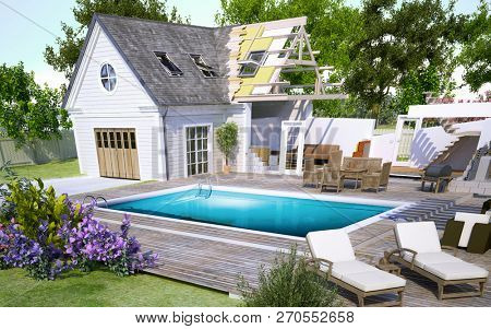 3D rendering of a house with pool under construction