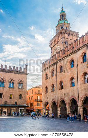 Accursio Palace At The Maggiore Place In Bologna - Italy