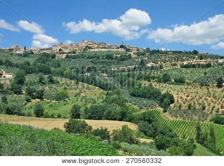 View To Medieval Village Of Montefalco In Umbria,italy