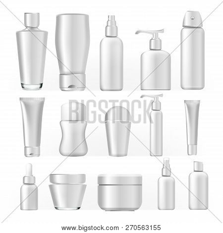 Cosmetic Bottles Set Vector. Empty Plastic White Package For Cosmetic Product. Container, Tube, Bott