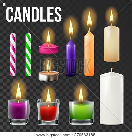 Candles Set Vector. Different Types Of Paraffin, Wax Burning Candles. Classic, Glass Jar, For Cake.