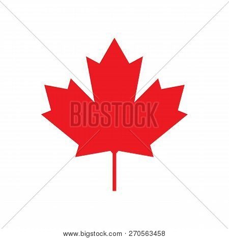 Maple Leaf For Canada Flag, Maple Symbol, Vector Illustration Of Maple Leaf Canada Flag On White Bac